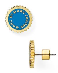 Marc By Marc Jacobs | Blue Saw Tooth Enamel Disc Stud Earrings | Lyst