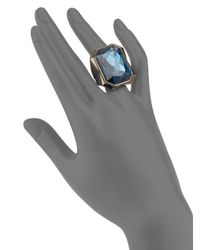 Judith Leiber - Blue Crystal Beveled Cocktail Ring - Lyst