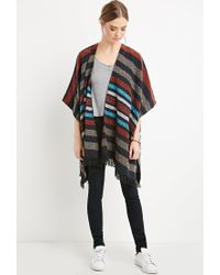 Forever 21 | Multicolor Striped Open-front Poncho | Lyst