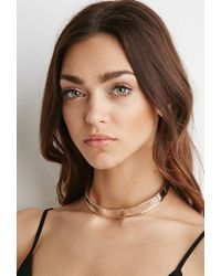 Forever 21 - Metallic High-shine Cutout Choker - Lyst