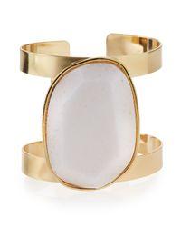 Panacea | Metallic White Stone Cuff Bracelet | Lyst