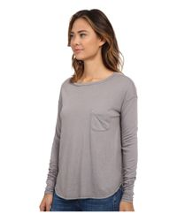 Three Dots | Blue Long Sleeve Boat Neck Tee | Lyst