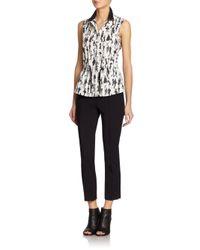 Akris Punto | Black Flaneur-print Drawstring-waist Blouse | Lyst