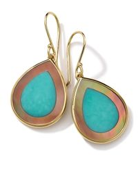 Ippolita | Metallic 18k Gold Polished Rock Candy Mini Teardrop Earrings In Turquoise/brown Shell | Lyst