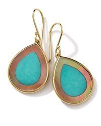 Ippolita - Metallic 18k Gold Polished Rock Candy Mini Teardrop Earrings In Turquoise/brown Shell - Lyst