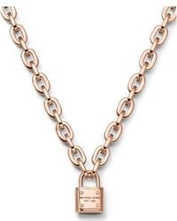 Michael Kors | Metallic Padlock Toggle Necklace | Lyst