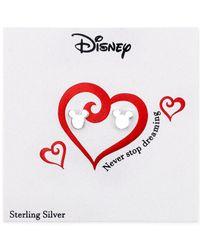 Disney - Gray Mickey Mouse Stud Earrings In Sterling Silver - Lyst