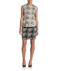 Nicole Miller Artelier | Black Sleeveless Crosshatch Peplum Dress | Lyst