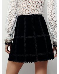 Free People | Black Womens Piece Out Suede Mini Skirt | Lyst