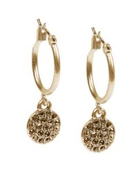 Lucky Brand - Metallic Goldtone Pave Drop Earrings - Lyst