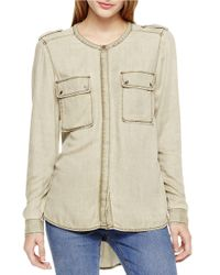 Two By Vince Camuto | Green Jersey Utility Shirt | Lyst