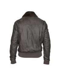 FORZIERI | Dark Brown Leather Bomber Jacket W/ Removable Sheepskin Collar for Men | Lyst