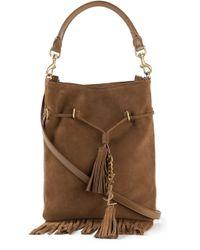Saint Laurent - Brown Fringed Suede Cross-Body Bag - Lyst