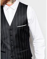 Heart & Dagger - Chalk Stripe Waistcoat In Super Skinny Fit - Black for Men - Lyst