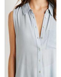 Forever 21 - Blue High-slit Shirt Dress - Lyst