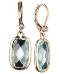 Anne Klein | Gold-Tone Blue Stone Drop Earrings | Lyst