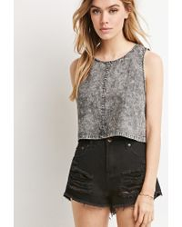 Forever 21 | Gray Mineral Wash Crop Top | Lyst