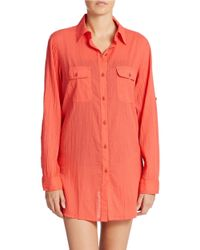 Lauren by Ralph Lauren | Pink Cotton Camp Shirt Tunic | Lyst