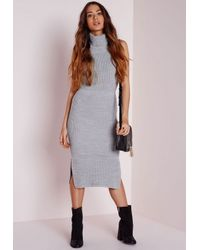 Missguided - Gray Oversized Roll Neck Knitted Midi Dress Grey - Lyst