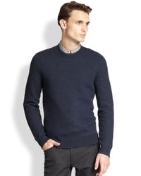 Theory - Blue Merino Wool Basketweave Sweater for Men - Lyst