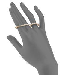Saks Fifth Avenue - Metallic Pavé Three-finger Ring/goldtone - Lyst