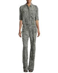 Stella McCartney - Green Silk Animal-print Jumpsuit - Lyst