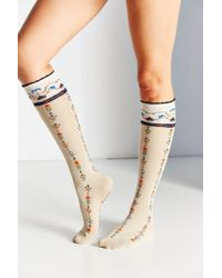 Urban Outfitters | Natural Vintage Floral Knee-high Sock | Lyst