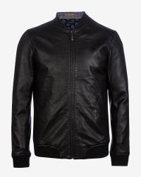 Ted Baker | Black Leather Bomber Jacket for Men | Lyst