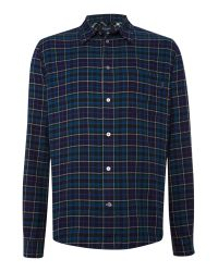 Paul Smith - Blue Tailored Fit Long Sleeve Check Shirt for Men - Lyst