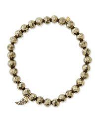 Sydney Evan - Metallic Pave Diamond Horn-charm Pyrite-bead Bracelet - Lyst