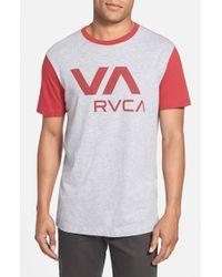 RVCA - Red 'va' Graphic Two Tone T-shirt for Men - Lyst