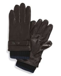 Ted Baker - Brown Rib Knit Cuff Leather Gloves for Men - Lyst