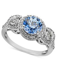 Arabella | Metallic Blue And White Swarovski Zirconia Three Stone Ring (3-1/3 Ct. T.w.) | Lyst