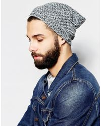 ASOS | Slouchy Beanie In Black And White Texture Twist for Men | Lyst