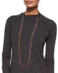 Brunello Cucinelli - Metallic Multi-strand Beaded Long Necklace - Lyst