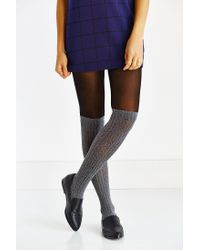 Urban Outfitters | Black Faux Sock Over-the-knee Tight | Lyst