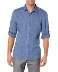 Perry Ellis | Blue Linen Sportshirt for Men | Lyst
