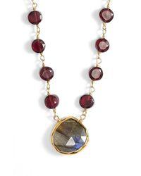 Ela Rae | Purple 'ara' Semiprecious Stone Pendant Necklace - Garnet/ Labradorite | Lyst