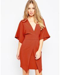 ASOS | Brown Mini Asymmetric Pocket Dress With Kimono Sleeves | Lyst
