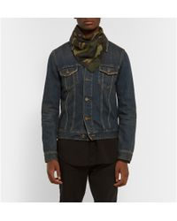 Saint Laurent   Green Camouflage-Print Cotton And Cashmere-Blend Bandana for Men   Lyst