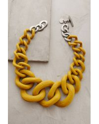 Anthropologie - Yellow Crescendo Link Necklace - Lyst