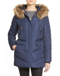Kensie | Blue Faux Fur Trim Hooded Quilted Down & Feather Fill Coat | Lyst