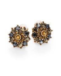Oscar de la Renta | Multicolor Swarovski Crystal Sunburst Clipon Earrings | Lyst