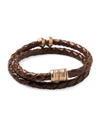 Miansai | Brown Woven Leather Bracelet With Brass Casing for Men | Lyst