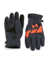 Under Armour | Blue Coldgear Infrared Leatherette-accented Storm Convex Gloves for Men | Lyst