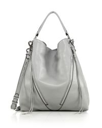 Rebecca Minkoff | Gray Moto Leather Hobo Bag | Lyst