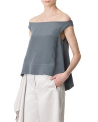 Tibi - Gray Silk Off-the-shoulder Top - Lyst