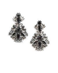 Mango - Black Faceted Stone Earrings - Lyst