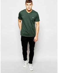 Stussy - T-shirt With V Neck In Ivy Green Marl for Men - Lyst