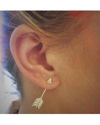 Pamela Love | Metallic Shooting Arrow Earrings In Brass And White Topaz | Lyst